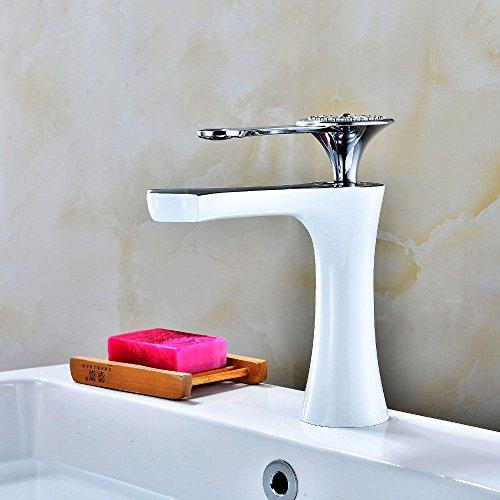 Widespread Kitchen Sink Faucet WhiteKitchen sink basin mixer tap bathroom hot and cold cloakroom basin sink mixer tap basin mixer tap sink (White Lever Basin Pillar Taps)