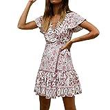 Libermall Women's Dresses Summer Sexy V Neck Ruffle Boho Print Tie Up Beach Sundress Club Mini Dress Pink