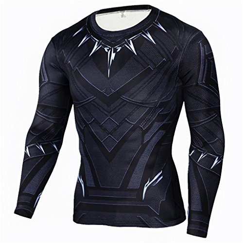 HIMIC E77C Hot Movie Super Hero Quick-Drying ElasticT-Shirt Costume (Large,Black Panther Long Sleeve)