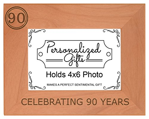 Happy 90th Birthday Photo Frame Celebrating 90 Years Wood Picture