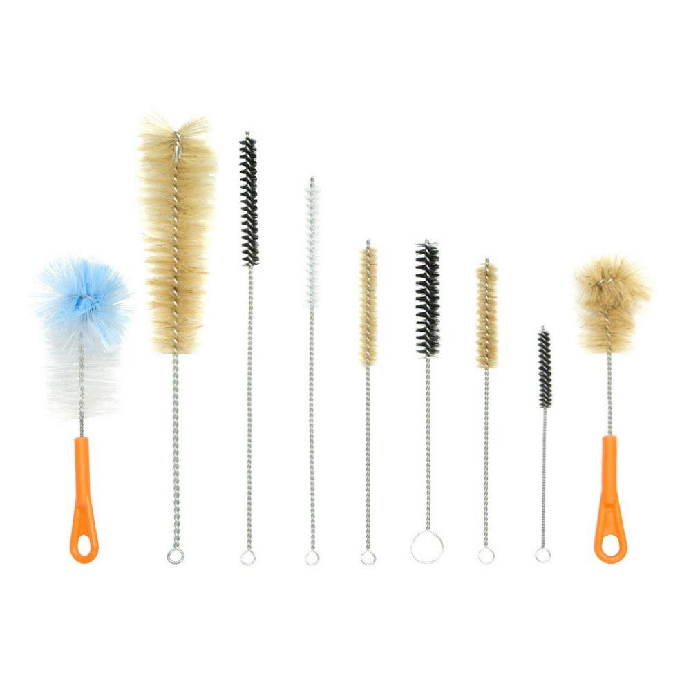 Houseables Bottle Brush, Hookah Cleaning Kit, Bong Brushes, Water Bubbler, Hose Tips Cleaner, 9 Pieces, Nylon, Natural & Synthetic Bristles, Small, Long, Scrubber for Tubes, Straws, Canning Jars BB9-OL-11IN