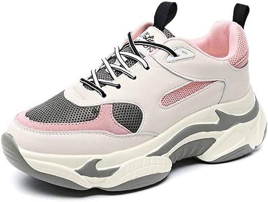 Zapatillas De Deporte Chunky Deportivas para Mujer Zapatillas Blancas Road Running Spring con Malla Plana Y Transpirable Zapatillas Retro Gym Shoes: Amazon.es: Zapatos y complementos