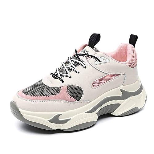 Zapatillas De Deporte Chunky Deportivas para Mujer Zapatillas Blancas Road Running Spring con Malla Plana Y Transpirable Zapatillas Retro Gym Shoes: ...