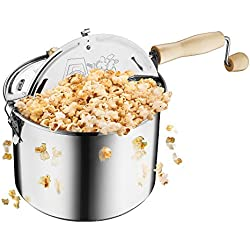 Great Northern Popcorn Original Stainless Steel Stove Top 6-1/2-Quart Popcorn Popper