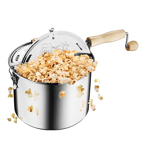 Great Northern Popcorn Original Stainless Steel Stove Top 6-1/2-Quart Popcorn Popper (Steel Pop)