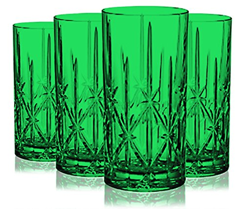 Emerald Green Marquis by Waterford Sparkle High Ball Glasses, 22-Ounce -Set of 4- Additional Vibrant Colors Available by TableTop - Emerald Marquis