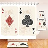 Nalahome Bath Suit: Showercurtain Bathrug Bathtowel Handtowel Lifestyle Decor Ace of Diamonds Clubs Poker Cards Game Grunge Gambling Fortune Illustration Cream Red