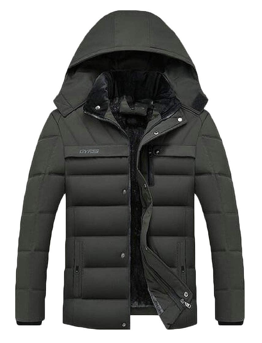 WAWAYA Men Faux Fur Lined Hooded Winter Warm Down Quilted Jacket Parka Coat Outerwear