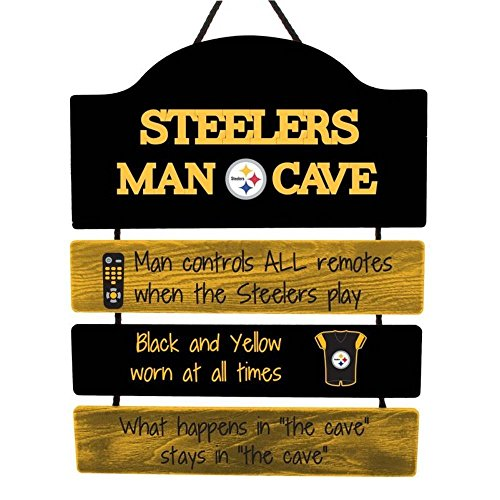 FOCO NFL Pittsburgh Steelers Team Logo Mancave Man Cave Hanging Wall Sign, Team Color, One Size
