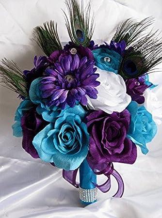 17 Pc Wedding Bouquet Bridal Silk Flowers Turquoise Purple Plum Peacock Feather