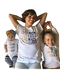 Franterd Mom Dad & Baby Parent-Child Short Sleeve Letter Printed Shirt Family Clothes Outfits