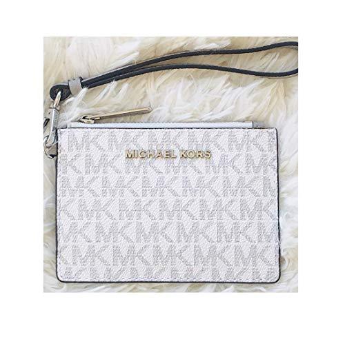 Michael Kors Coin Purse Card Case Wristlet Wallet Bright White Signature ()