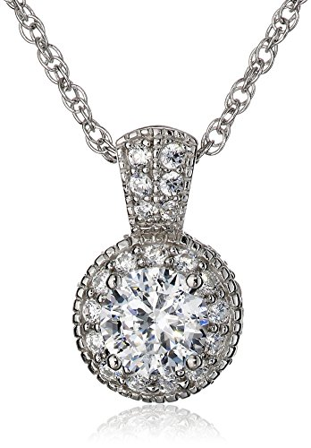 Platinum Plated Sterling Silver Clarion Cubic Zirconia Halo Pendant Necklace, 18
