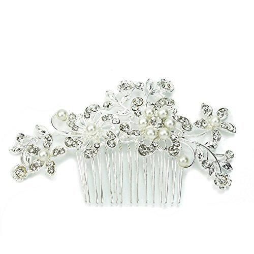 TINKSKY Bridal Hair Pieces Tiara Hair Pins Women's Crystal Rhinestones Pearls Decor Flower Style Hair Comb Clip