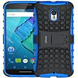 (US) ykooe Moto X Pure Edition Case (5.7 inch), (Armor Series) Heavy Duty Protection Hybrid Shockproof Dual Layer Protective Case Cover Stand Motorola MotoPure Edition (Blue)