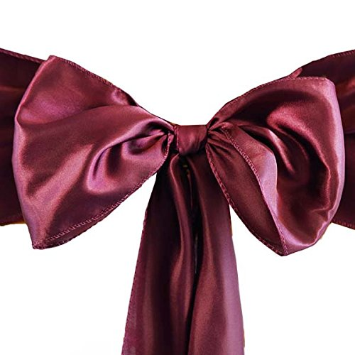 """Efavormart 25pcs Burgundy SATIN Chair Sashes Tie Bows Catering Wedding Party Decorations 6 x106"""""""