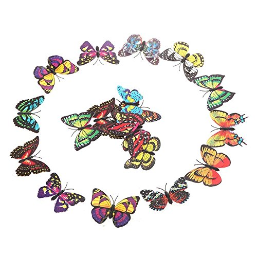 T-Trees 20pcs 7cm 3D Artificial Butterfly Pin Clip Double Wing for Home Christmas Wedding Decoration