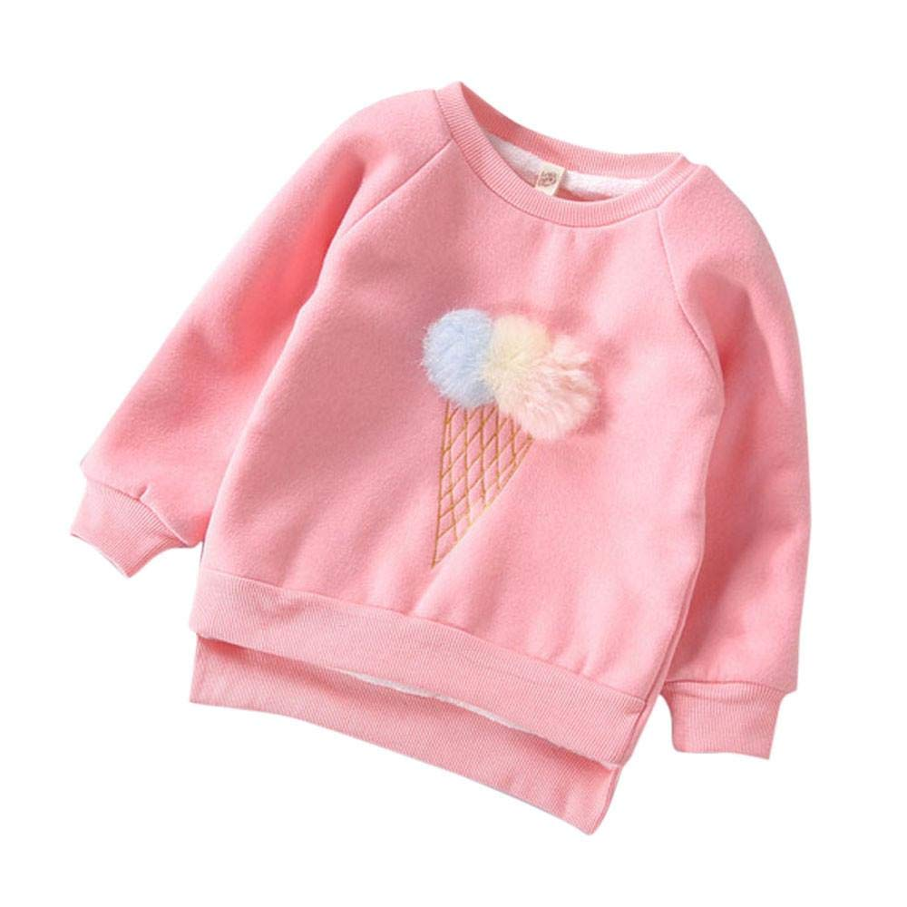 Girls Sweatshirt,1-5 Years Old Zerototens Toddler Baby Girls Cute Long Leeve O Neck Plush Ball Pullover Sweatshirt Tops Autumn Winter Thick Warm T-Shirt Blouse Tops Outwear
