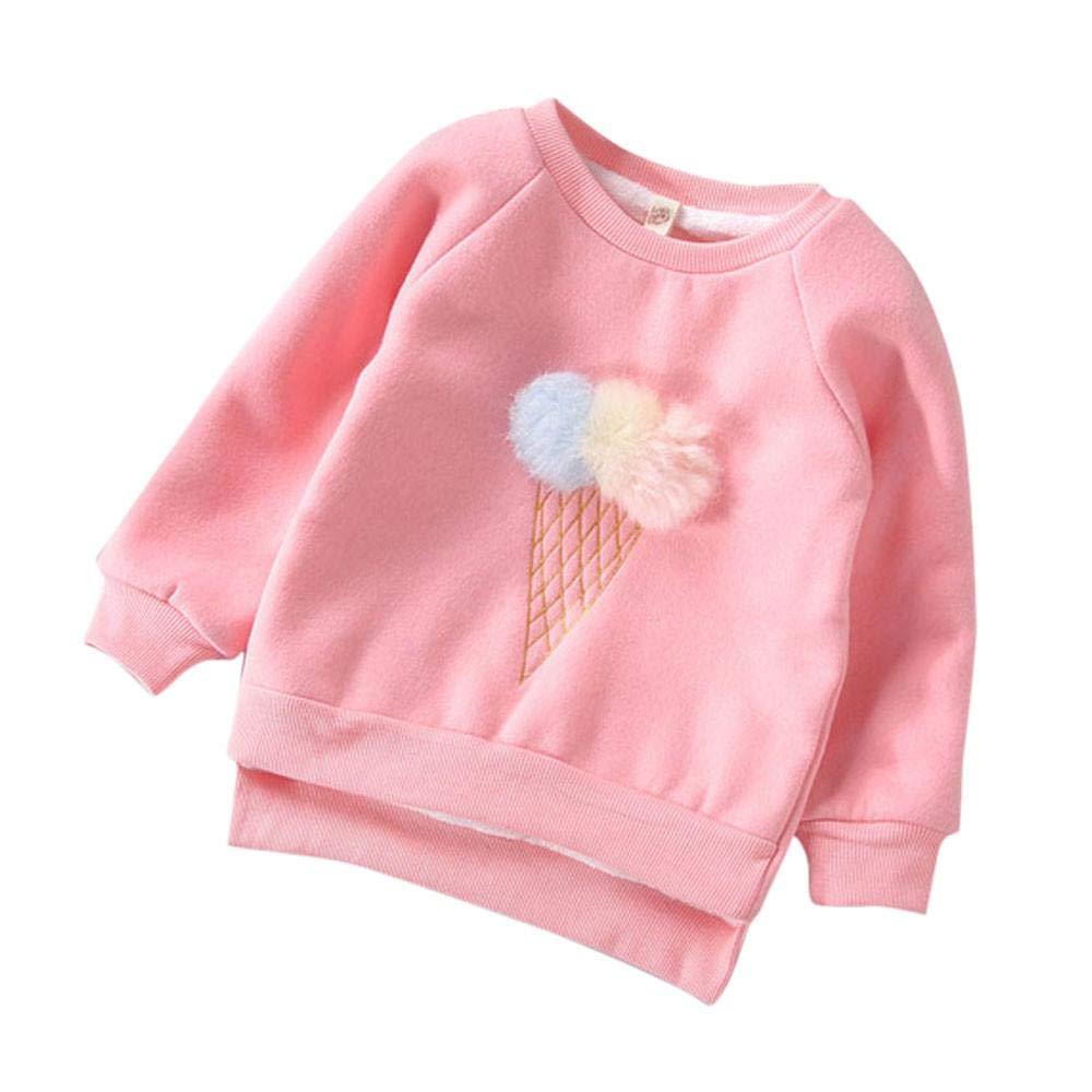 Girls Sweatshirt, 1-5 Years Old Zerototens Toddler Baby Girls Cute Long Leeve O Neck Plush Ball Pullover Sweatshirt Tops Autumn Winter Thick Warm T-Shirt Blouse Tops Outwear