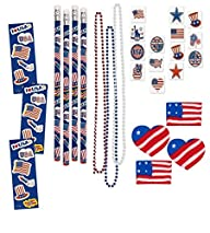 156 Piece Mega Patriotic Toy Novelty Assortment; 72 Patriotic Glitter Tattoos, 12 Patriotic…