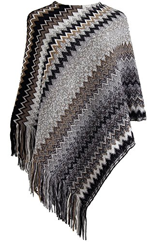QZUnique Women's Sweater Pullover Wrap Poncho Pashmina Long Knitted Tassels Edge Waves (Poncho Looking Sweaters)