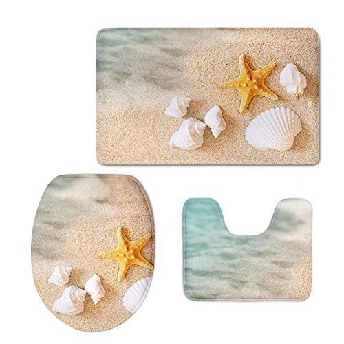 CoolToiletLidCoverCC chaqlin Bath Mat,Beach,Starfish Sea Shell Bathroom Carpet Rug Non-Slip 3 Piece Bathroom Mat Set