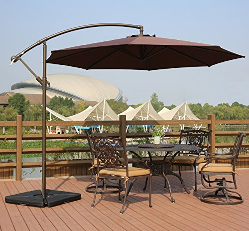 AMT Deluxe Adjustable Offset Cantilever Hanging 10' Patio Umbrella with Cross Base and Crank, Coffee