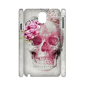 wugdiy Custom 3D Case for Samsung Galaxy Note 3 N9000 with Personalized Design Beautiful flower skulls