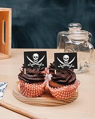 Amazon.com: 200 unidades púas de bandera pirata – fiesta ...