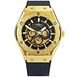 Caluxe Men's Automatic Mechanical Watches Silicone Black Strap Men's Skeleton Golden Winner Watch