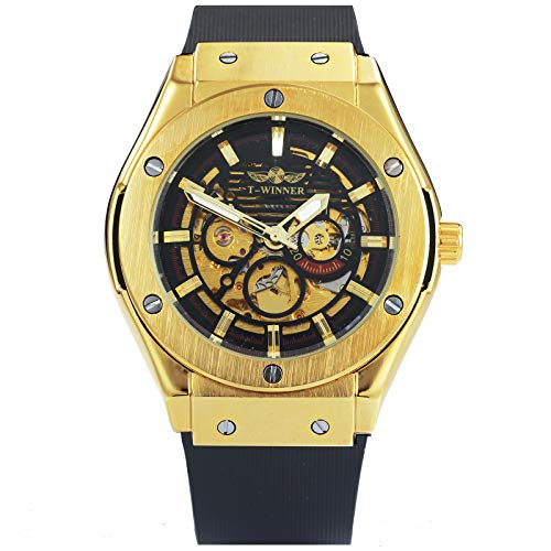 (Caluxe Men's Automatic Mechanical Watches Silicone Black Strap Men's Skeleton Golden Winner Watch)