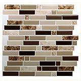 "tile bathroom wall  Premium Peel and Stick Tile Backsplash,Stick On Backsplash Wall Tiles for Kitchen & Bathroom-Self Adhesive-10.62"" x 10"" (6 Sheets)"