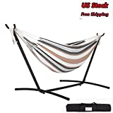 Feiuruhf Double Hammock with Space-Saving Steel Stand, Hammock Stands Space Saving Steel Hammock Stand Outdoor Indoor Hammock Stands Portable with Carrying Bag 2 Person Space