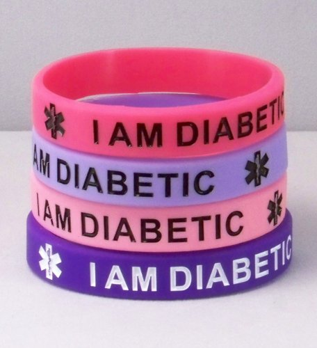 Silicone Diabetes 4 pack Purple and Pink Medical I.D. Bracelet Adult Regular