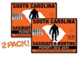 South Carolina-SASQUATCH HUNTING PERMIT LICENSE TAG DECAL TRUCK POLARIS RZR JEEP WRANGLER STICKER 2-PACK!-SC