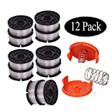 Newjinda[12 Pack]Line String Trimmer Replacement Spool, 30ft 0.065'' Autofeed weed eater string, Compatible with Black+Decker String Trimmers(10 Replacement Spool, 2 Trimmer Cap, 2 Spring)