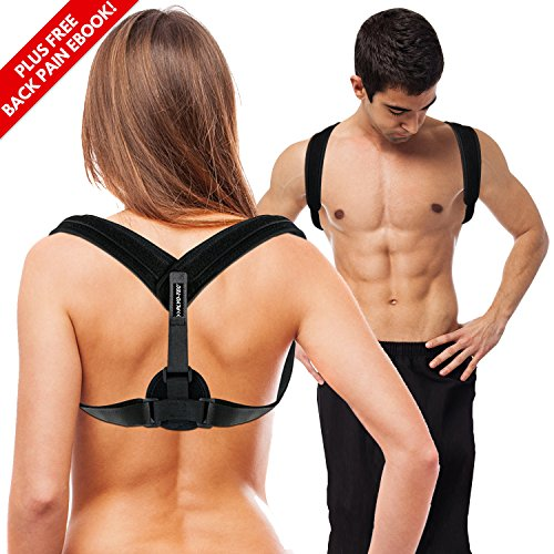 PLYO TEC Premium Back Support Posture Corrector Brace Trainer for Men & Women, Providing Relief from Neck Pain, Back Pain, Shoulder Pain & Bad Posture (Fitted Short Core Pro)