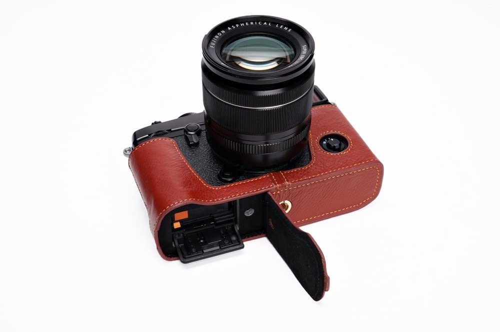 Brown Handmade Genuine Real Leather Half Camera Case Bag Cover for Fuji X-Pro-2 X-Pro 3 Fujifilm X Pro2 XPro3 Bottom Opening Version