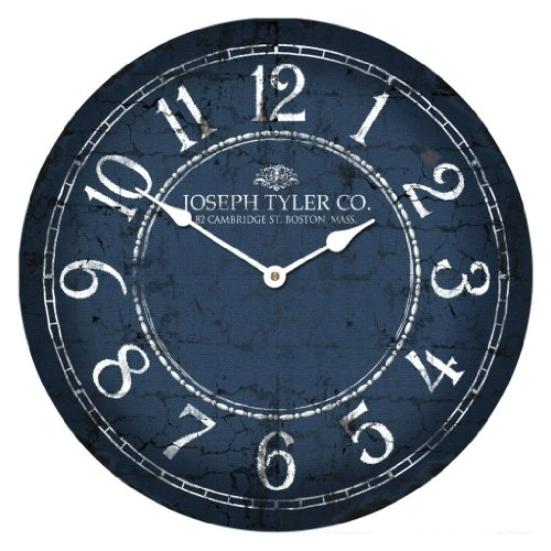 Blue & White Wall Clock, Available in 8 sizes, Whisper Quiet, non-ticking