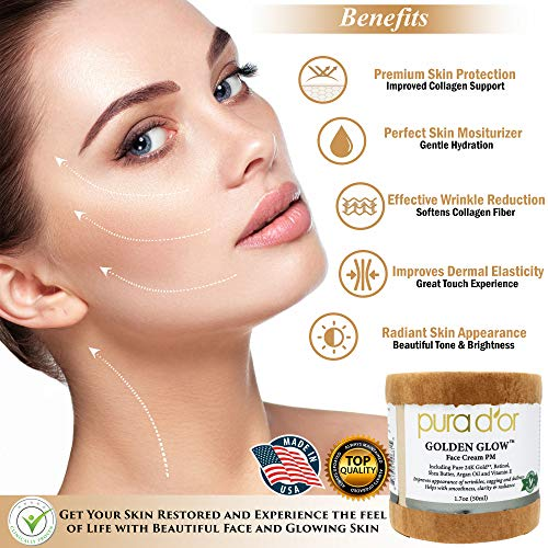 51dX%2BF iadL - PURA D'OR Golden Glow Face Cream PM - Anti Aging Face Cream With Pure 24K Gold for Firmer Skin, Reduced Appearance of Wrinkles and Increased Appearance of Brighter Skin (1.7oz)