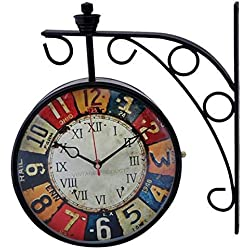 NAAYA'S DECOR Antique Double Sided Victoria London Railway Wall Clock | 8 inch Dial | Color : Black