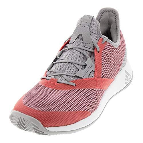 adidas Women's Adizero Defiant Bounce, Light Granite/Shock red/White, 8.5 M US
