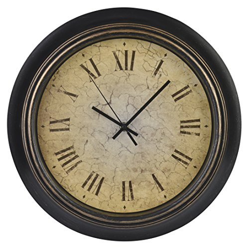 Old Oak 14-Inch Classic Retro Silent Non-Ticking Battery Operated Decorative Wall Clock with Roman Numerals