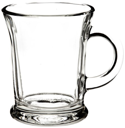 Classic Sturdy & Durable Clear Glass Beverage Mug Set with Handles for Coffee, Tea, Hot & Cold Drinks - Dishwasher Safe -14-Ounce Mocha Mug - 6 Pack (Glass Footed Mug)