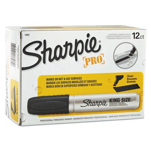 Sharpie Chisel Tip Pro Permanent Markers, King Size Black, 24-Count