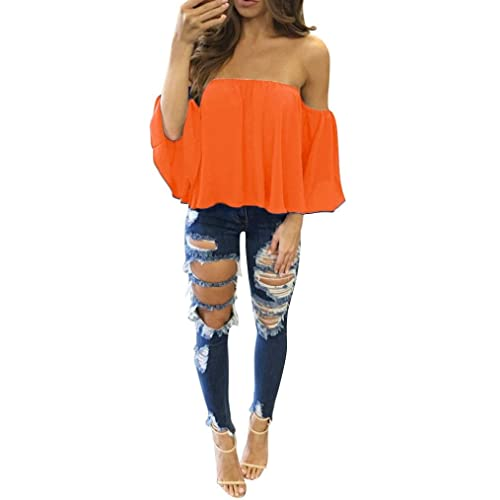 PHOTNO Casual Pullover tops long sleeve women off shoulder Chiffon blouse top blouse t shirt