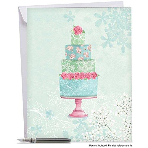 Large Wedding Cake (Watercolor Cake - Jumbo Wedding Congratulations Card: Beautifully Painted Celebration Cake, With Envelope (Large Size: 8.5