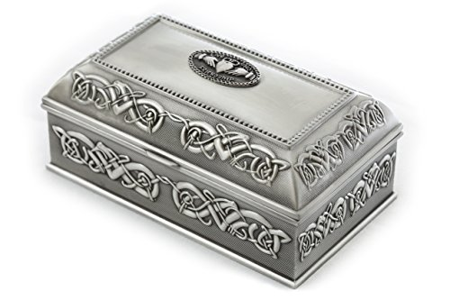 "Claddagh Jewelry Box Large 7""x 4"" x 3 ¼"" Pewter Made in Ireland by Biddy Murphy"