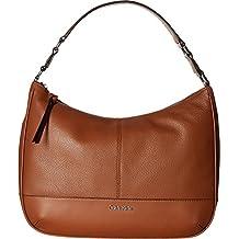 Calvin Klein Womens Mary Pebble Hobo Handbag Luggage