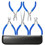 5 Piece Mini Pliers Tool Set, Kingsdun Flush Side
